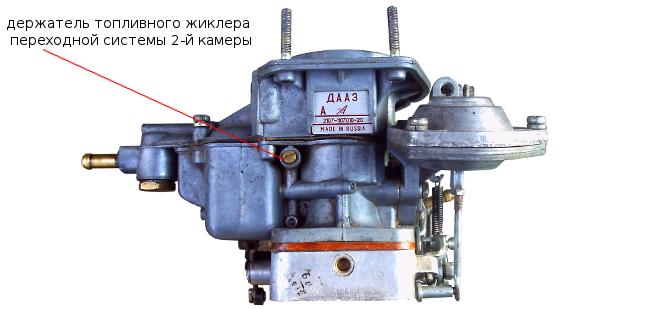 держатель топливного жиклера переходной системы второй камеры 2105, 2107 Озон