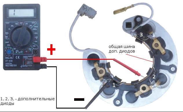 проверка дополнительных диодов генератора