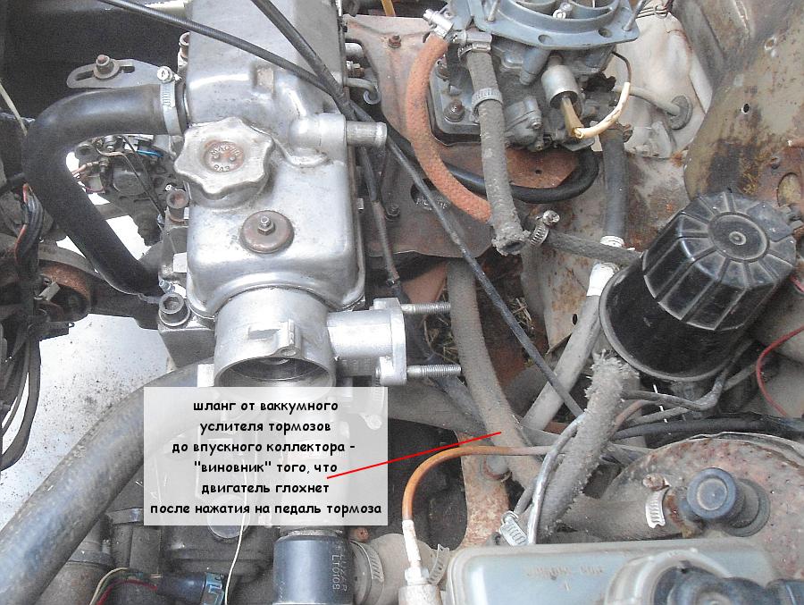 Двигатель глохнет после нажатия на педаль тормоза, почему?