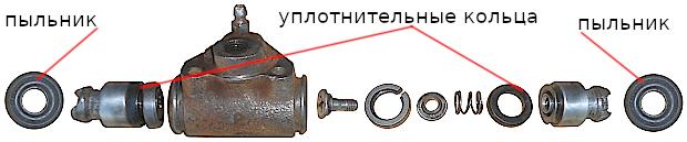 ремонт тормозного цилиндра заднего колеса 2108, 2109