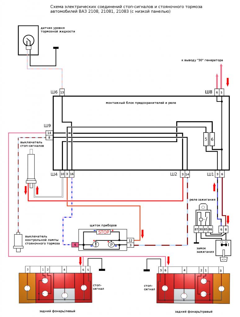 схема стоп-сигналов ВАЗ 2108, 2109, 21099