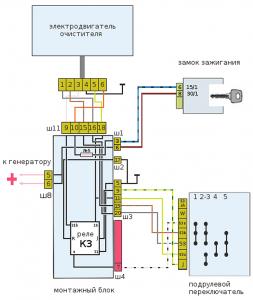 электросхема очистителя стекла ВАЗ