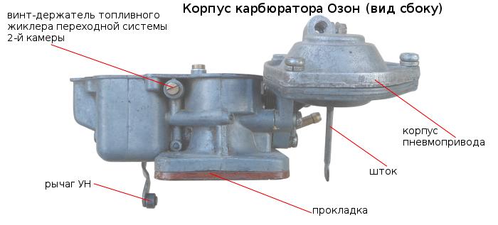 корпус карбюратора Озон бок