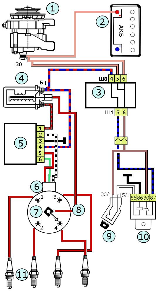 Схема бесконтактной системы зажигания ВАЗ 2108, 2109, 21099