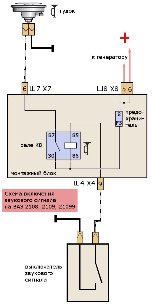 Схема подключения звукового сигнала фото 380