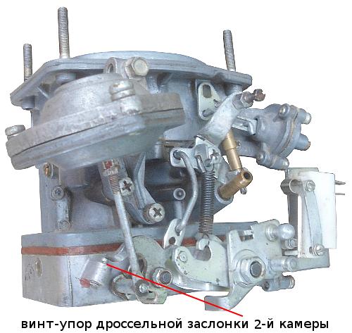 винт-упор дроссельной заслонки 2-й камеры карбюратора Озон 2105, 2107