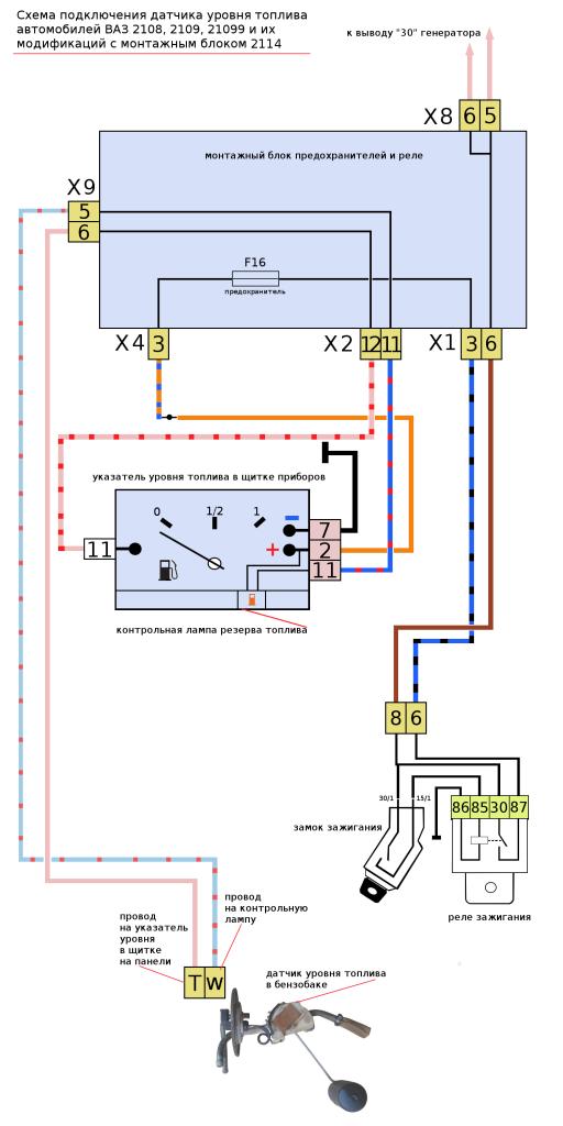 датчик уровня топлива 2108, 2109 до 1998 схема