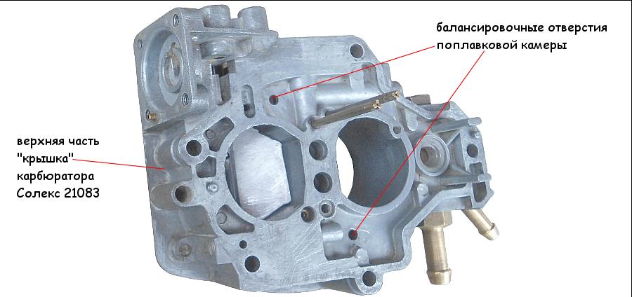 Система вентиляции поплавковой камеры карбюратора Солекс 2108, 21081, 21083