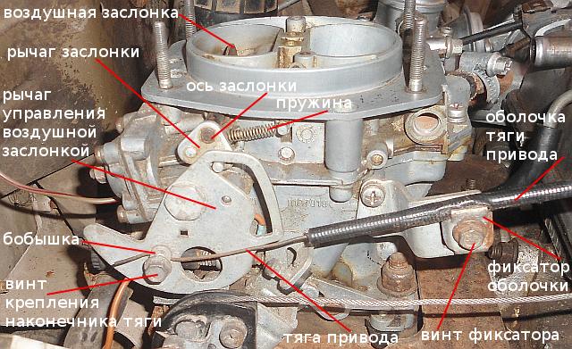 детали привода воздушной заслонки Солекс
