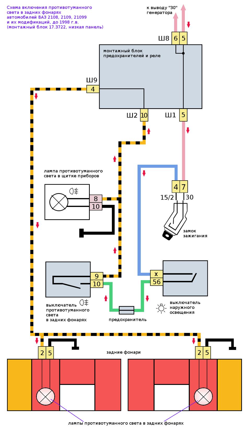 схема противотуманный свет 2108, 2109