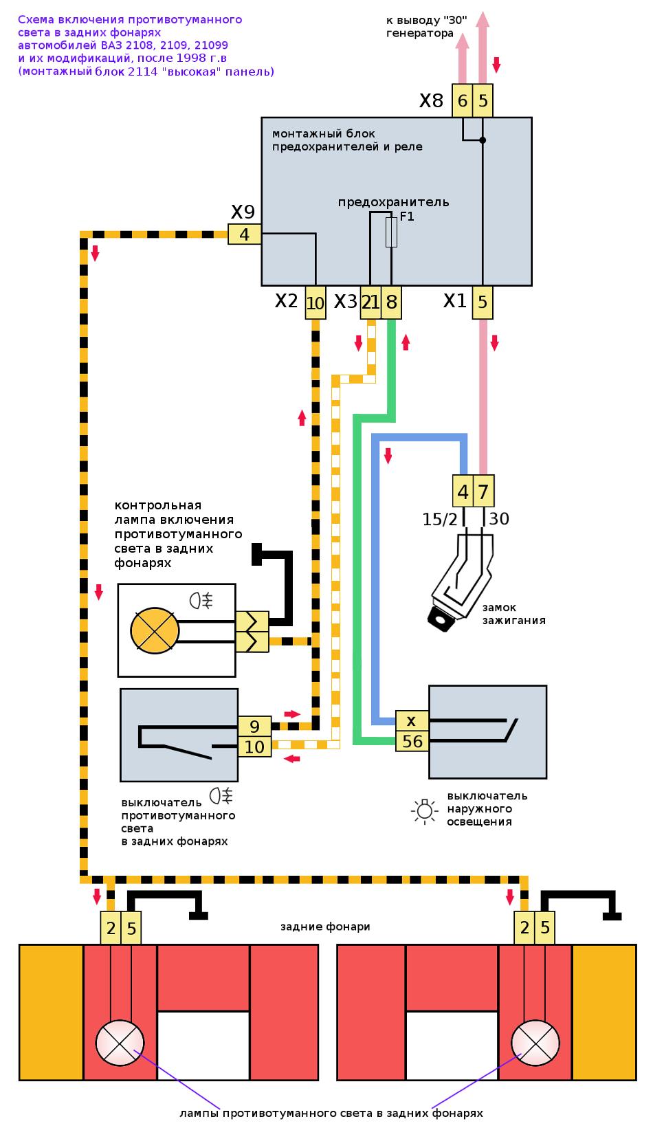 схема противотуманного света в задних фонарях 2114