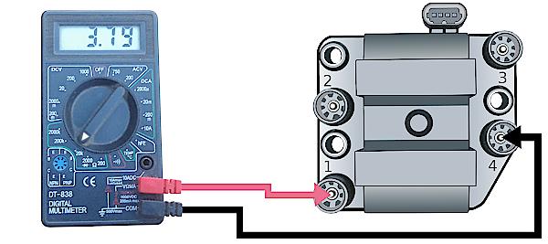 проверка вторичной обмотки модуля зажигания 1-4