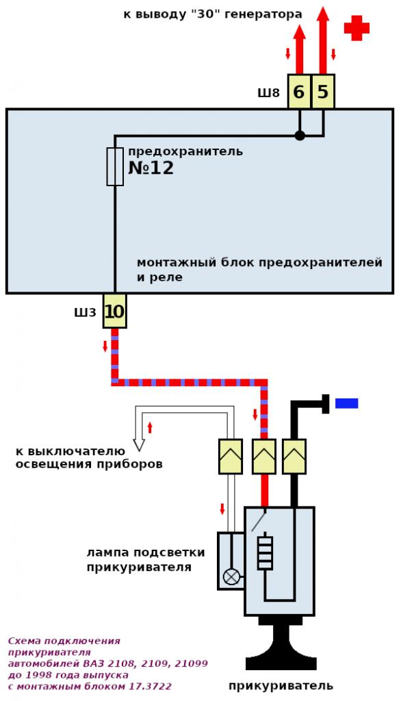 схема подключения прикуривателя 2108, 2109, 21099