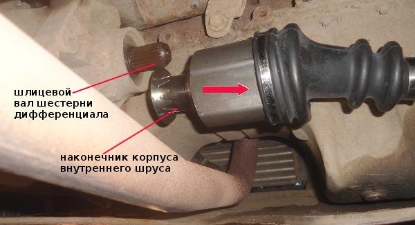 отсоединяем привод колеса от коробки передач