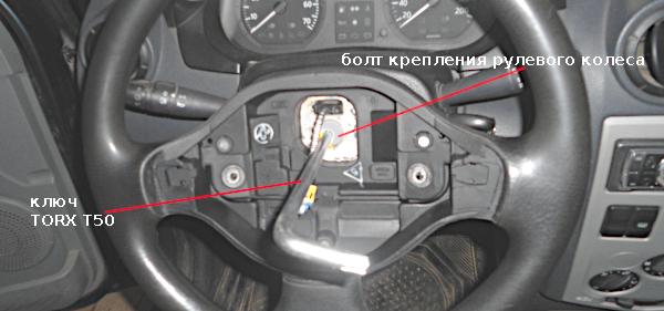 отворачиваем болт крепления рулевого колеса