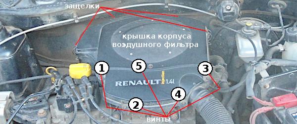 снимаем корпус воздушного фильтра двигателя k7j