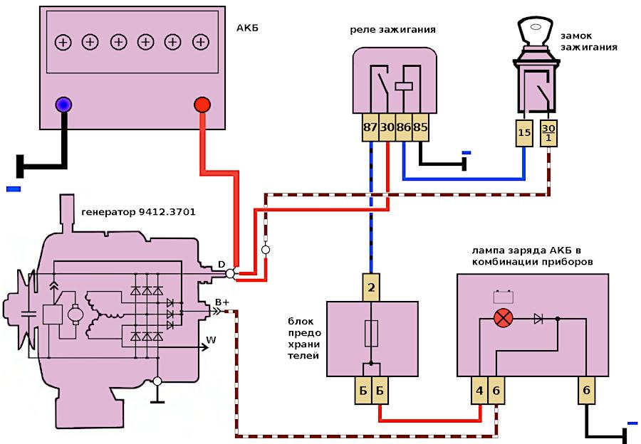 схема подключения генератора 9412.3701