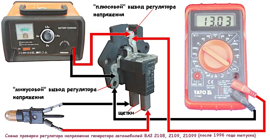 проверка регулятора напряжения 2108, 2109