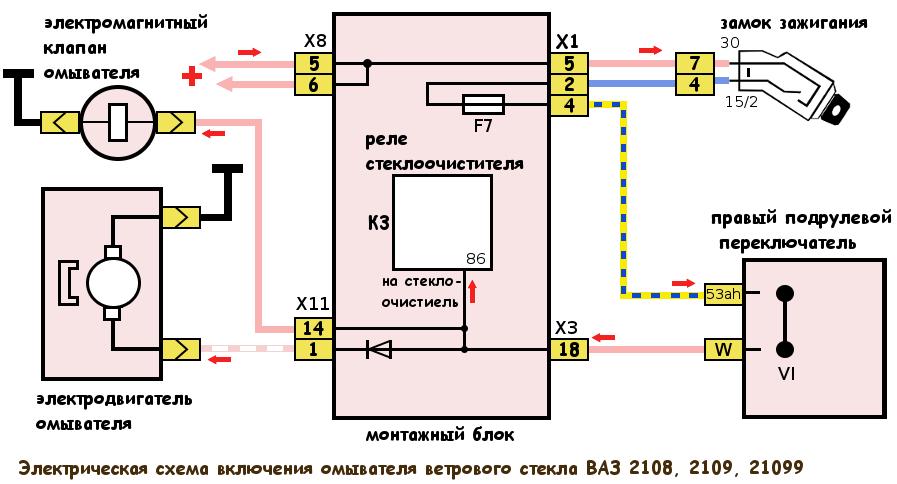 электрическая схема стеклоомывателя ВАЗ 2108, 2109, 21099