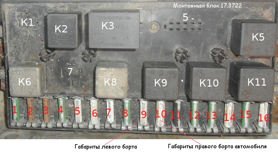 предохранители габаритов 2108, 2109 (блок 17.3722)
