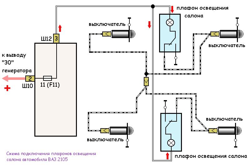 схема подключения плафонов освещения салона ВАЗ 2105