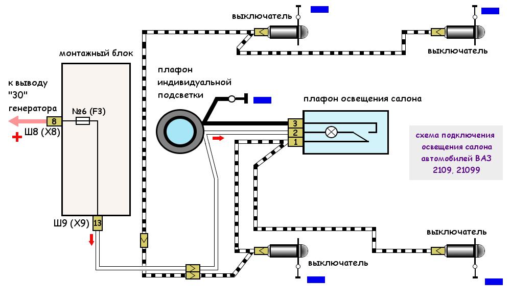 схема подключения внутреннего освещения автомобилей ВАЗ 2108, 2109, 21099