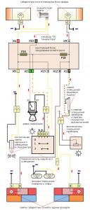схема подключения габаритов ВАЗ 2107