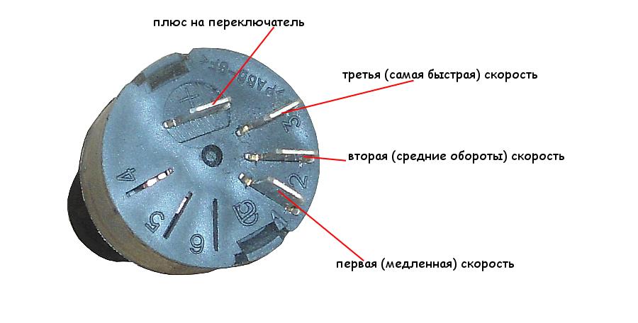 контакты переключателя печки ВАЗ 2108, 2109, 21099