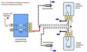 схема подключения плафонов освещения салона автомобиля Нива 21213