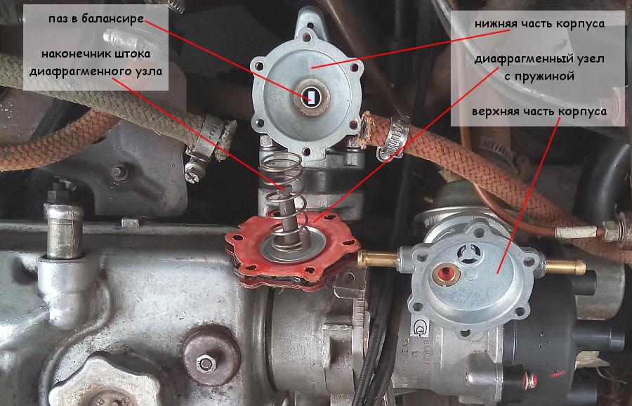 Снимаем диафрагмы бензонасоса для замены прямо на двигателе