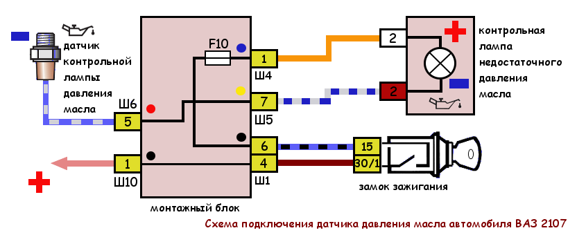 схема подключения датчика давления масла ВАЗ 2107