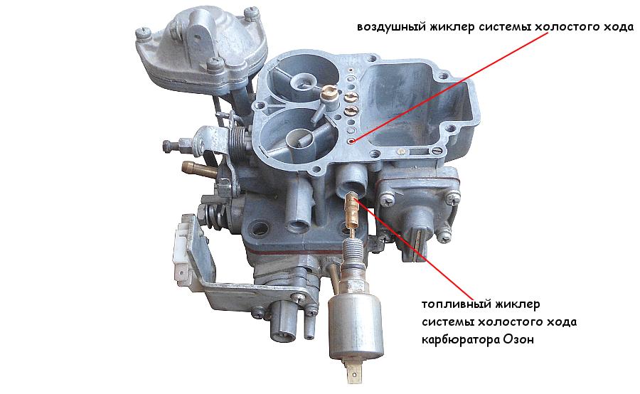 топливный и воздушный жиклеры СХХ карбюратора Озон