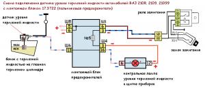 схема подключения датчика уровня тормозной жидкости ВАЗ 2108, 2109, 21099