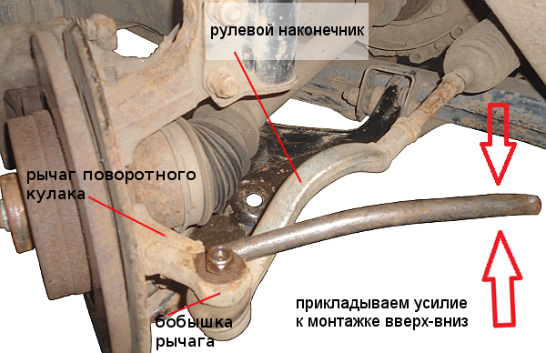 проверяем наконечник рулевой тяги монтажкой