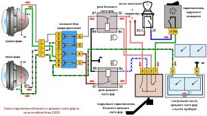 нива 21213, ближний и дальний свет фар, схема подключения