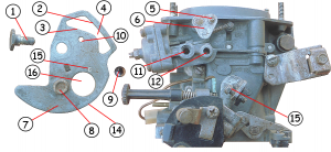схема - устройство рычага управления воздушной заслонкой карбюратора Солекс 21083