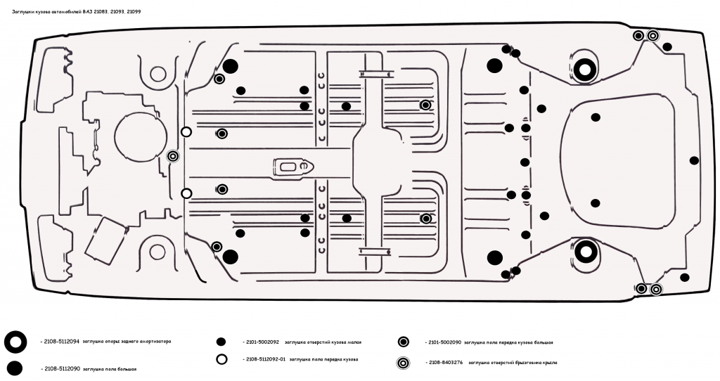 Заглушки кузова ВАЗ 21083, 21093, 21099, схема установки