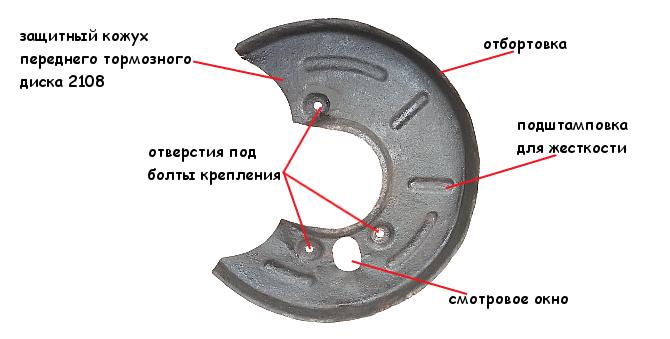 Защитный кожух переднего тормозного диска 2108