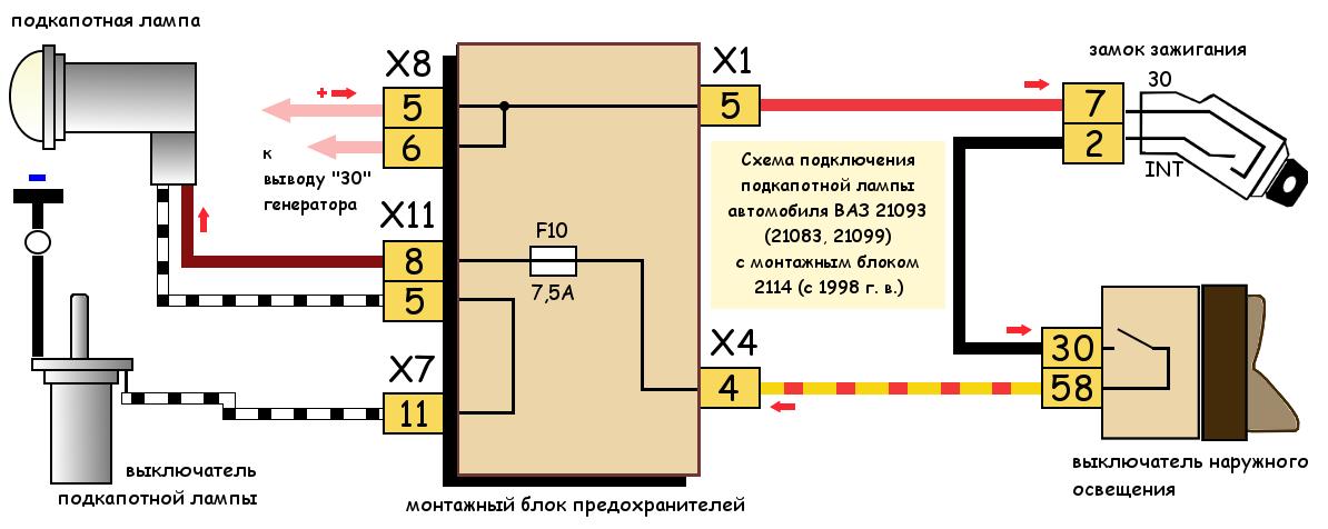 Схема подключения подкапотной лампы ВАЗ 21083, 21093, 21099 с монтажным блоком 2114