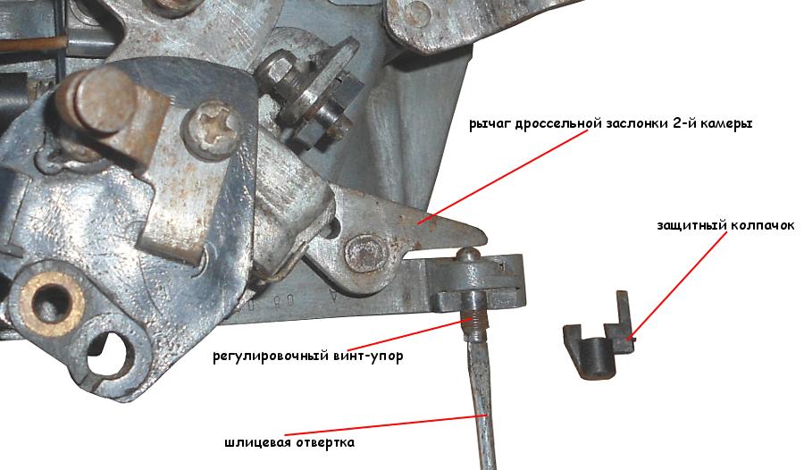регулировка положения дроссельной заслонки второй камеры карбюратора Солекс 21083 (2108, 21081)