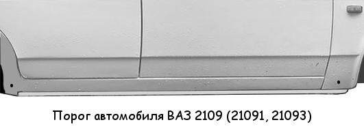 Порог автомобиля ВАЗ 2109, детали