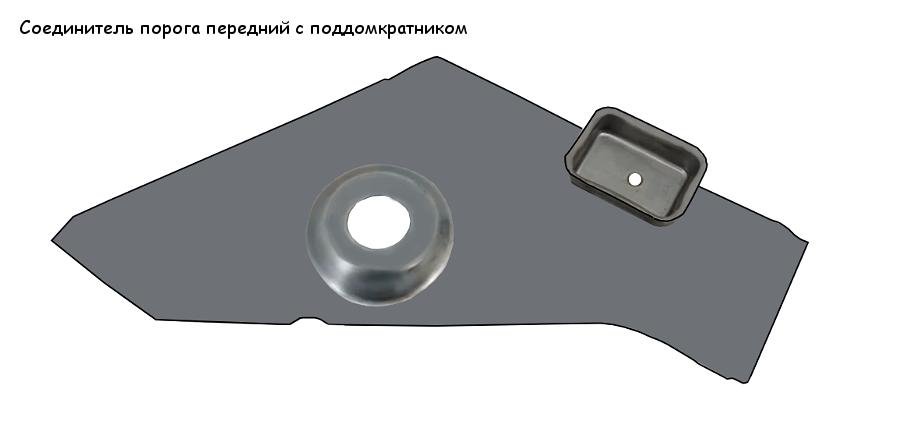 Соединитель порога передний с поддомкратником