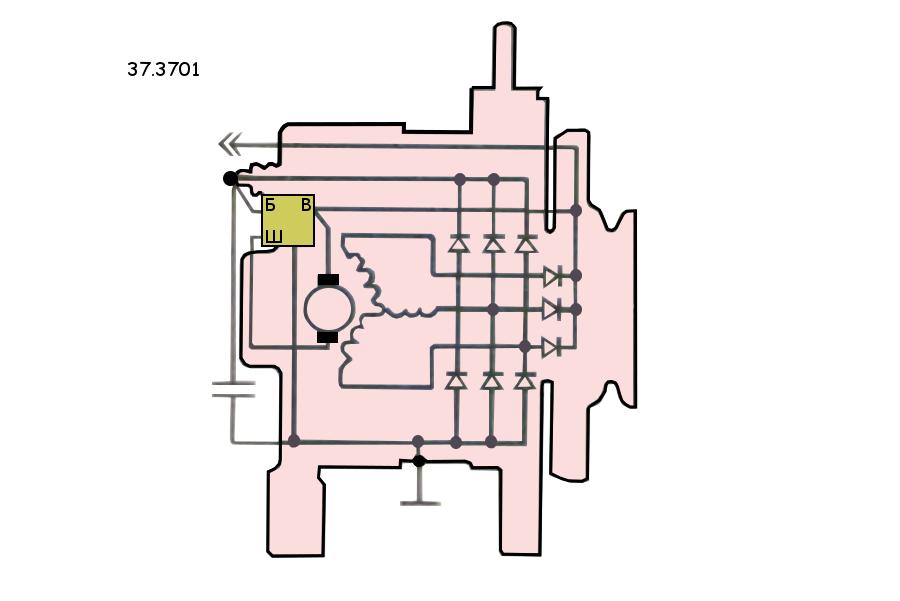 Генератор 37.3701 ВАЗ 2108, 2109, 21099, схема электрическая