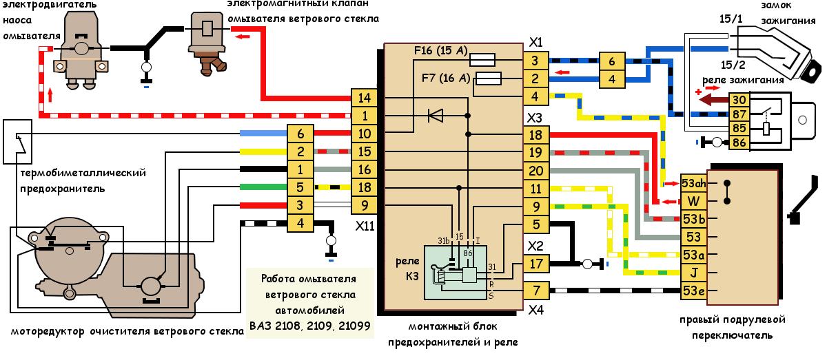 Работа омывателя ветрового стекла ВАЗ 2108, 2109, 21099