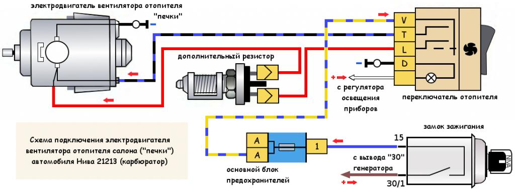 """Схема подключения электродвигателя вентилятора """"печки"""" Нива 21213"""