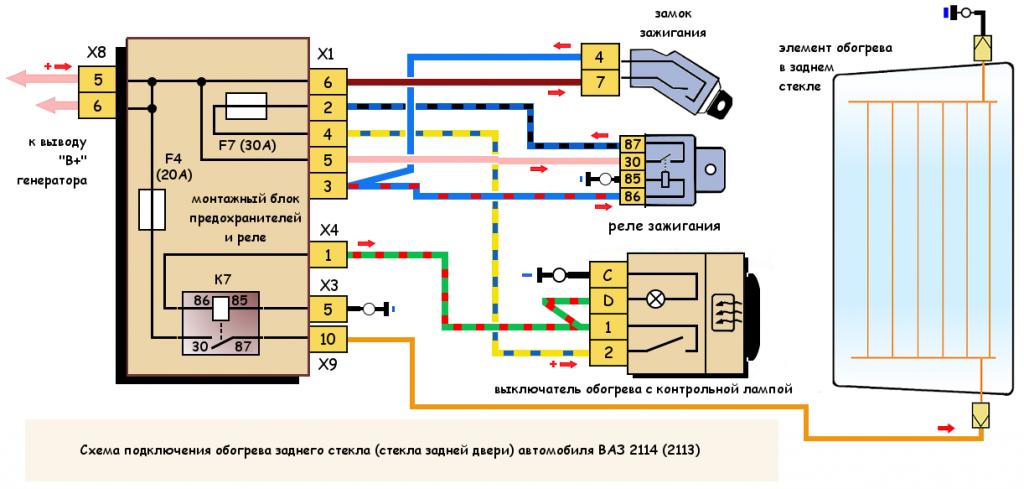 Схема подключения обогрева заднего стекла ВАЗ 2114 (2113)