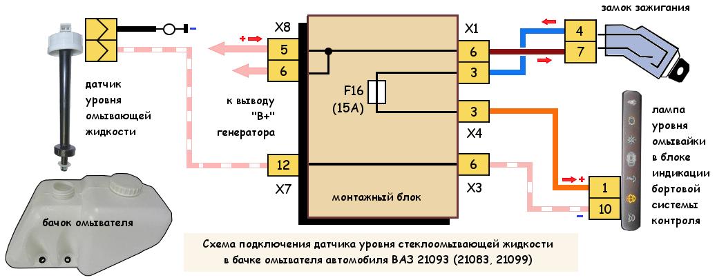 Датчик уровня стеклоомывателя ВАЗ 21093, 21083, 21099, схема
