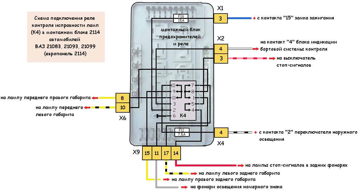 Реле контроля исправности ламп ВАЗ 21083, 21093, 21099