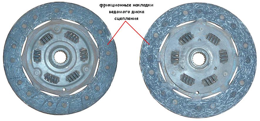 Стершиеся накладки ведомого диска сцепления