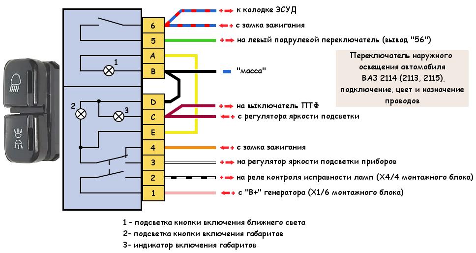 Переключатель наружного освещения ВАЗ 2114. провода